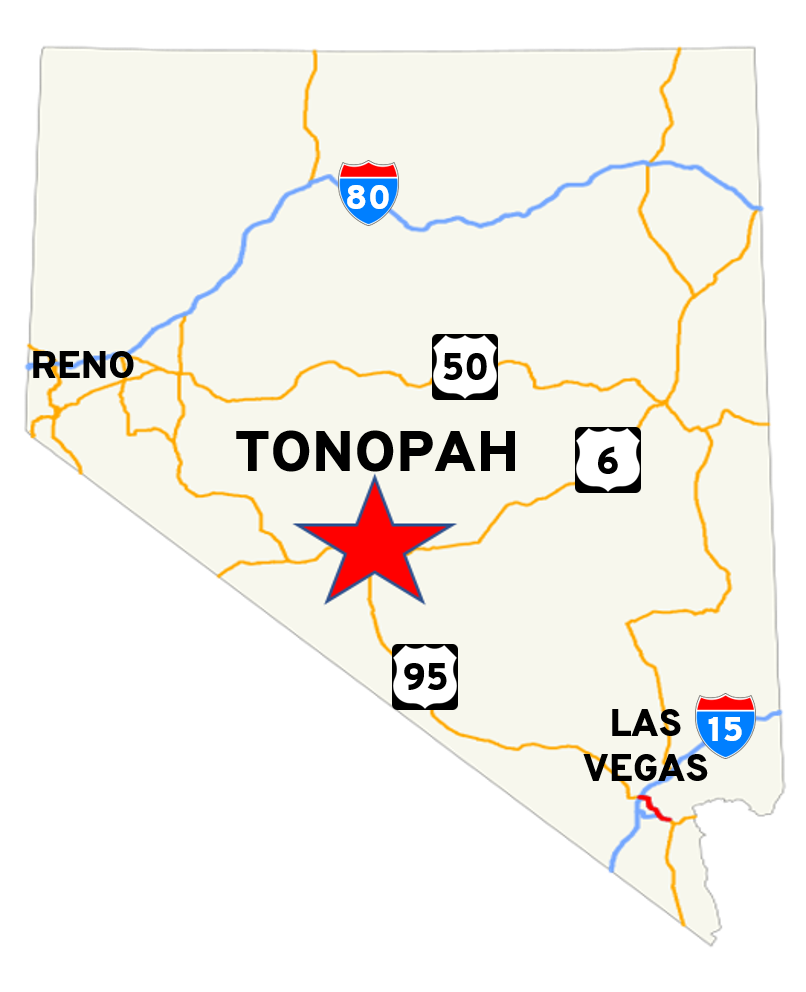 Map of Nevada showing Tonopah and major highways and cities